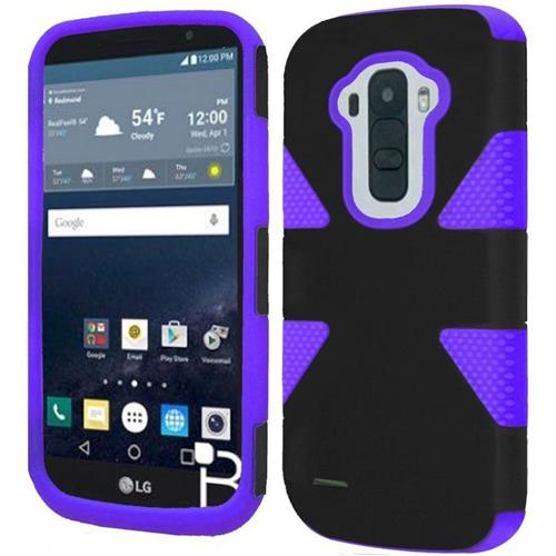 Insten Dynamic Hard Hybrid Rubber Silicone Case For LG G Stylo, Black/Purple