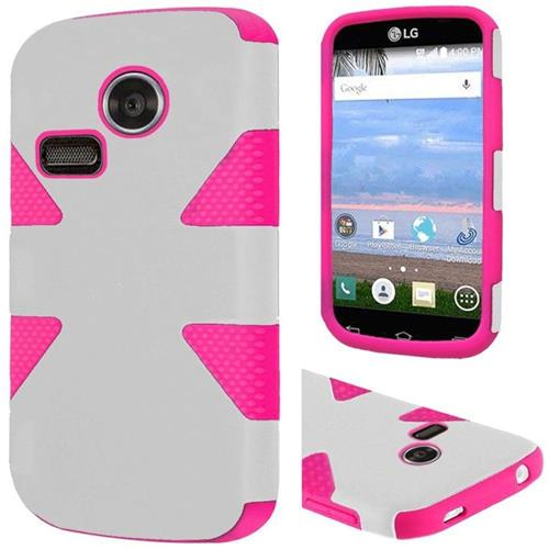 Insten Dynamic Hard Hybrid Rubber Coated Silicone Case For LG Lucky/Sunrise, White/Hot Pink