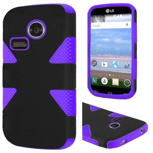 Insten Dynamic Hard Hybrid Rubber Coated Silicone Case For LG Lucky/Sunrise, Black/Purple