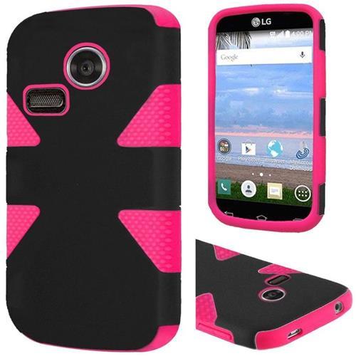 Insten Dynamic Hard Hybrid Silicone Case For LG Lucky/Sunrise, Black/Hot Pink