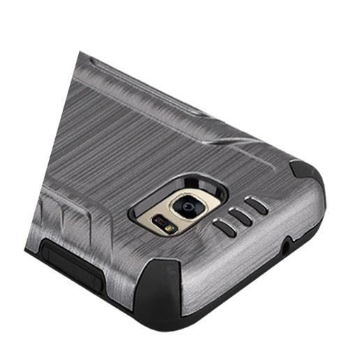 Insten Hard Dual Layer TPU Cover Case For Samsung Galaxy S7 Edge, Gray/Black