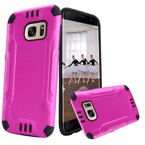 Insten Hard Dual Layer TPU Case For Samsung Galaxy S7 Edge, Hot Pink/Black