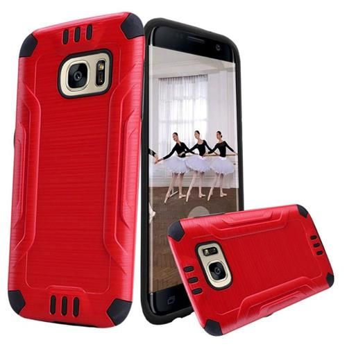 Insten Hard Hybrid TPU Cover Case For Samsung Galaxy S7 Edge, Red/Black