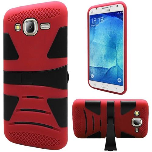 Insten Hard Dual Layer Rubberized Silicone Case w/stand For Samsung Galaxy J7(2015), Red/Black