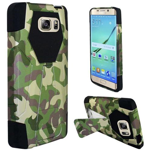Insten Camouflage Hard Hybrid Plastic Silicone Case w/stand For Samsung Galaxy S7 Edge, Green/Brown