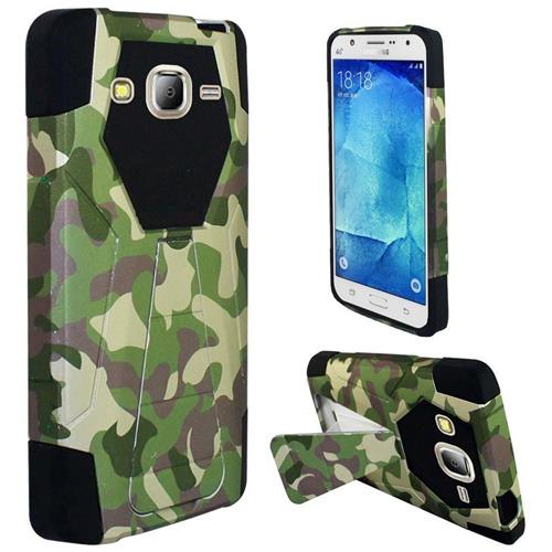 Insten Camouflage Hard Hybrid Plastic Silicone Case w/stand For Samsung Galaxy S7, Green/Brown