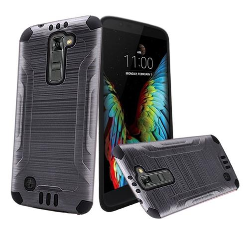 Insten Hard Dual Layer Rubber Silicone Case For LG K10, Gray/Black