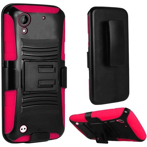 Insten Hard Hybrid Plastic Silicone Case w/stand/Holster For HTC Desire 530/550/555, Black/Hot Pink