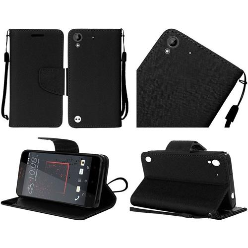 Insten Book-Style Leather Fabric Case Lanyard w/stand For HTC Desire 530/550/555, Black