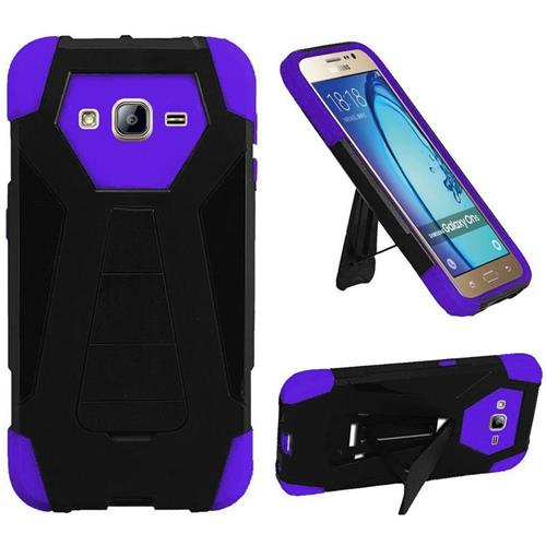 Insten Hard Dual Layer Plastic Silicone Cover Case w/stand For Samsung Galaxy On5, Black/Purple