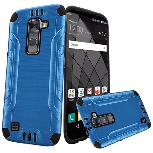 Insten Hard Dual Layer Rubber Silicone Case For LG Stylo 2 Plus, Blue/Black
