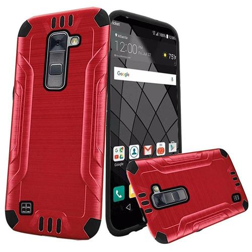 Insten Hard Hybrid Rubber Coated Silicone Cover Case For LG Stylo 2 Plus, Red/Black