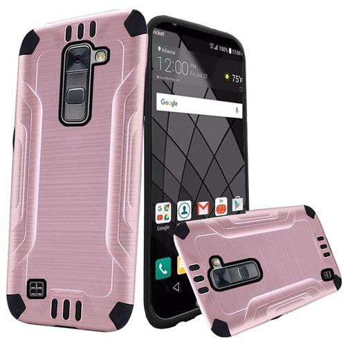 Insten Hard Dual Layer Rubberized Silicone Case For LG Stylo 2 Plus, Rose Gold/Black