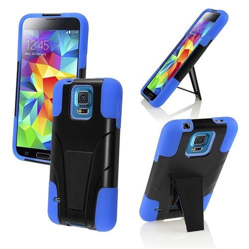 Insten Hard Hybrid Plastic Case w/stand For Samsung Galaxy S5, Black/Blue
