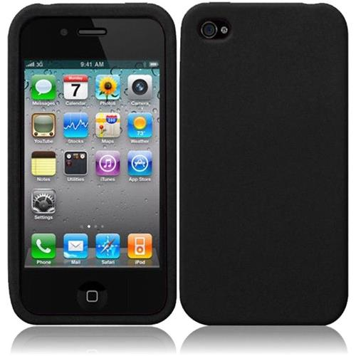 Insten Skin Rubber Cover Case For Apple iPhone 4/4S, Black