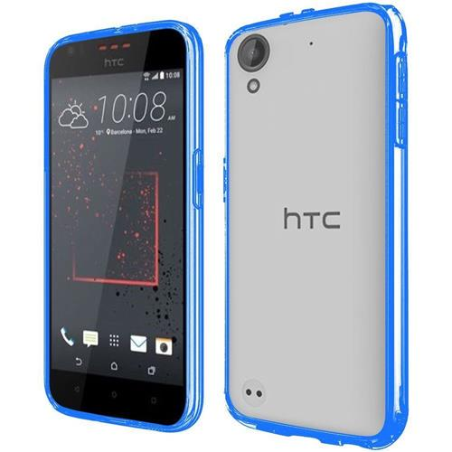 Insten Hard Crystal TPU Cover Case For HTC Desire 530, Clear/Blue