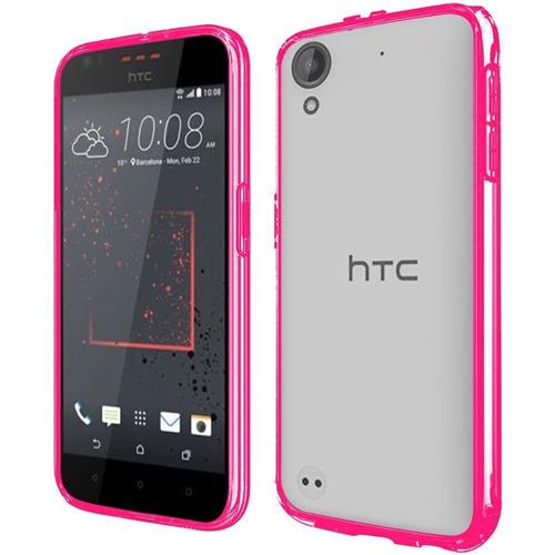 Insten Hard Crystal TPU Case For HTC Desire 530, Clear/Hot Pink
