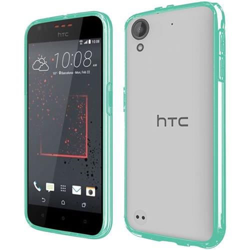 Insten Hard Crystal TPU Case For HTC Desire 530/550/555, Clear/Teal