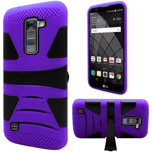 Insten Hard Hybrid Rubberized Silicone Cover Case w/stand For LG Stylo 2 Plus, Purple/Black