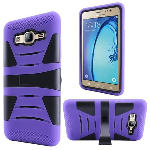 Insten Hard Dual Layer Rubberized Silicone Case w/stand For Samsung Galaxy On5, Purple/Black
