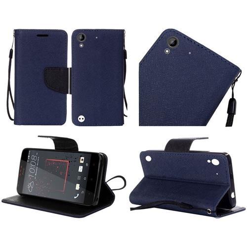 Insten Flip Leather Fabric Case Lanyard w/stand For HTC Desire 530/550/555, Blue