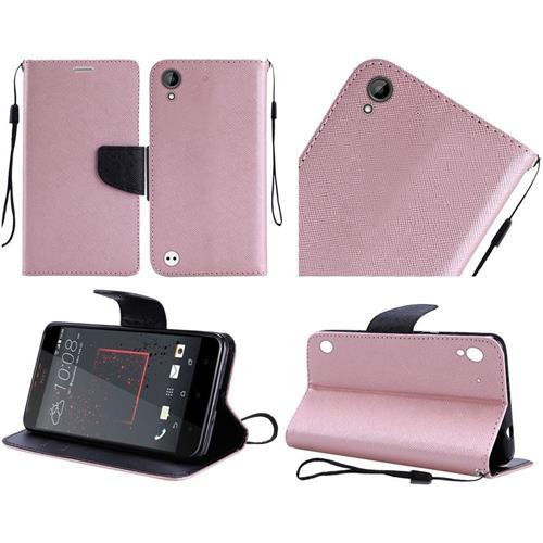Insten Book-Style Leather Fabric Case Lanyard w/stand For HTC Desire 530/550/555, Rose Gold/Black
