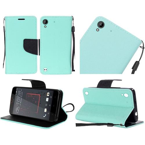 Insten Folio Leather Fabric Cover Case Lanyard w/stand For HTC Desire 530/550/555, Teal/Black
