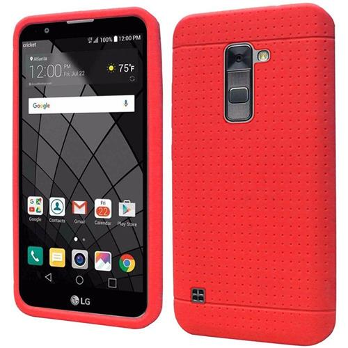 Insten Rugged Soft Rubber Cover Case For LG Stylo 2 Plus, Red