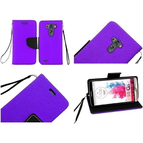 Insten Book-Style Leather Fabric Case Lanyard w/stand/card slot For LG G3, Purple