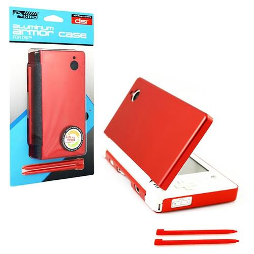 KMD Aluminum Armor Case Dual Stylus Set For Nintendo DSi, Fire Red