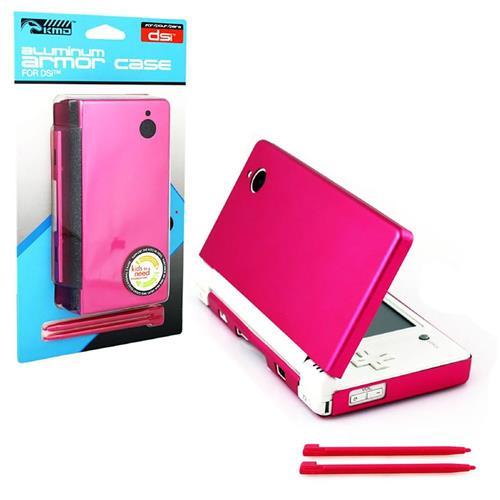 KMD Aluminum Armor Case Dual Stylus Set For Nintendo DSi, Hot Pink