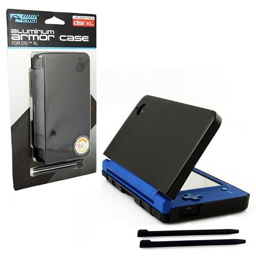 KMD Aluminum Armor Case Dual Stylus Set For Nintendo DSi XL, Cosmo Black
