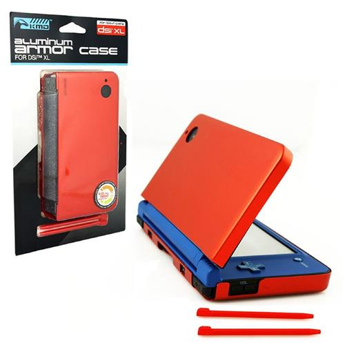 KMD Aluminum Armor Case Dual Stylus Set For Nintendo DSi XL, Fire Red