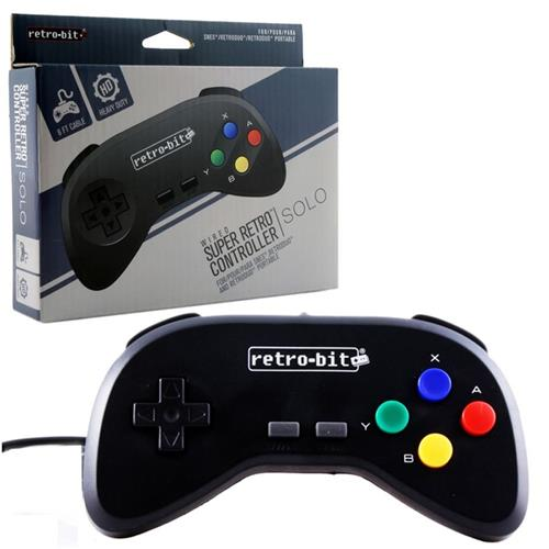 Retro-Bit Wired Controller For Super For SNES Super Nintendo Entertainment System, Black