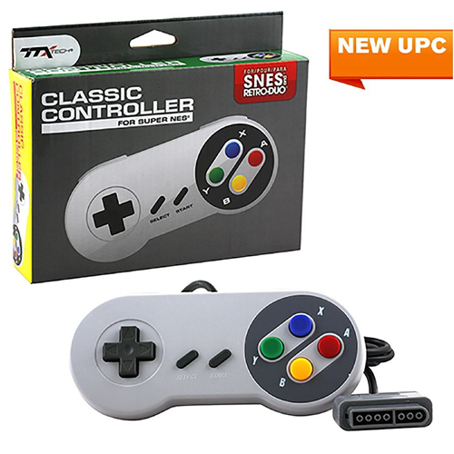 TTX Tech Wired Super Famicom Style Controller For SNES Super Nintendo Entertainment System Gray
