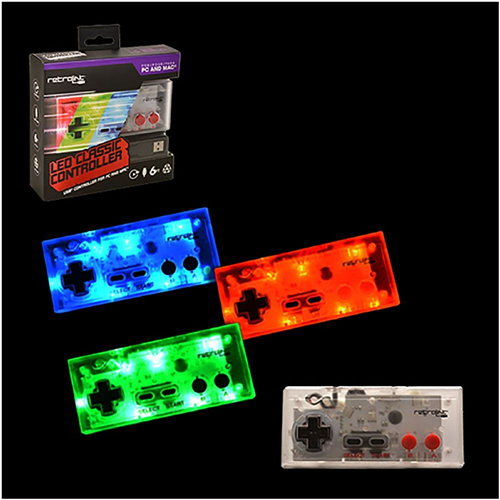 Retrolink Wired NES Style USB Controller With Blue/Red/Green LED On-Off Switch + Dimmer For PC MAC