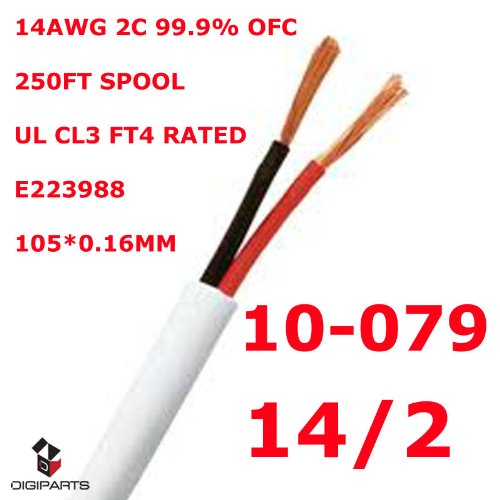 Konex (TM) 14GA 14 Gauge 2 conductors pure copper UL CL2 CL3 In wall rated speaker cable wire 250FT