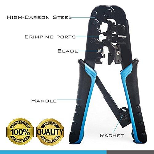 stanz tm rj45 and rj12 rj11 crimping tool network ratcheting wire crimper cutter striper. Black Bedroom Furniture Sets. Home Design Ideas