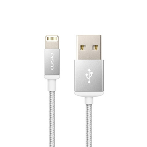 Pisen lightning data charging cable with double-side USB, 1000mm_Silver color