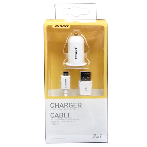 Pisen Car charger with Micro USB cable 2 in 1 kit (TS-D031)