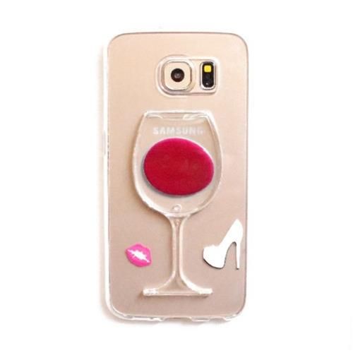 Zanko Gel Case - Wine Glass Stand - Galaxy S6 edge - Red