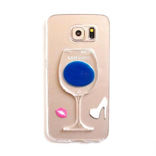 Zanko Gel Case - Wine Glass Stand - Galaxy S6 edge - Blue