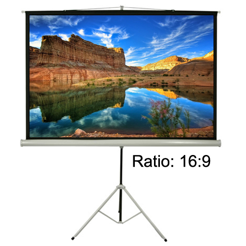 "Antra 92"" Tripod Mobile Compact Portable Projection Screen 16:9 Matte White 1.0 Gain 3D HDTV 1080p Ready"