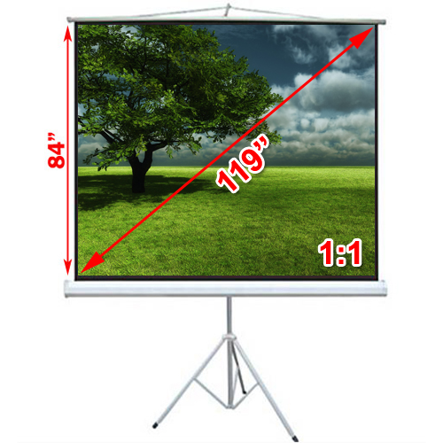 "Antra 119'' 1:1 (84""x84"") Toile de Projection sur Trepied Compacte et Mobile Blanc Mat Gain 1.0"
