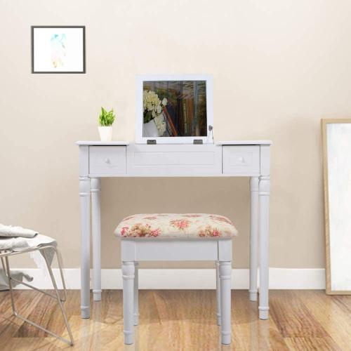 viscologic makeup vanity table set with stool flat top white vanities best buy canada. Black Bedroom Furniture Sets. Home Design Ideas