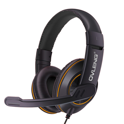 OVLENG Q1 USB Gaming Headset Over-ear Noise Cancelling with Mic for Computer_Black and Yellow color