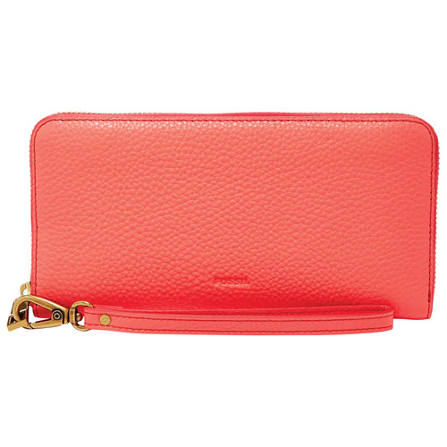 Fossil Emma RFID Zipper Leather Clutch Wallet - Neon Coral
