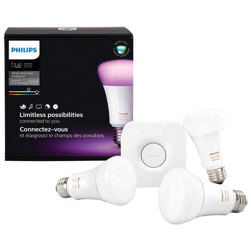 Trousse avec ampoules intelligentes ss fil Hue A19 Philips - Blanc/couleurs (3e gén) - Ang seulement