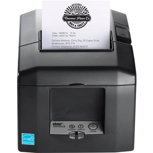 Star Micronics, TSP654IIBI-24 GRY US, Thermal Receipt Printer, Bluetooth for iOS, Auto Cutter, External Power Supply Included