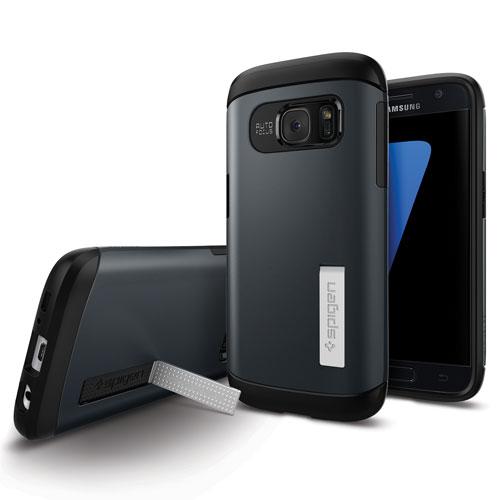 Étui rigide ajusté Slim Armor de Spigen pour Galaxy S7 edge de Samsung - Ardoise